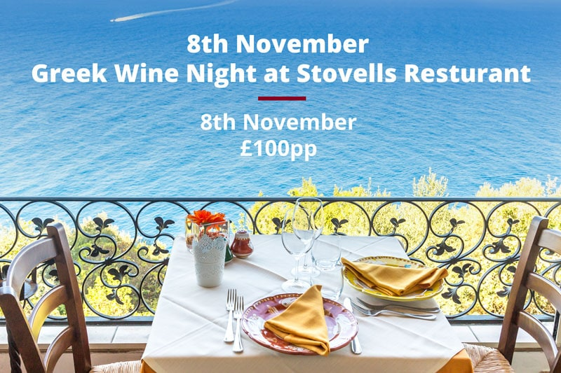 Greek wine night at Stovells resturant